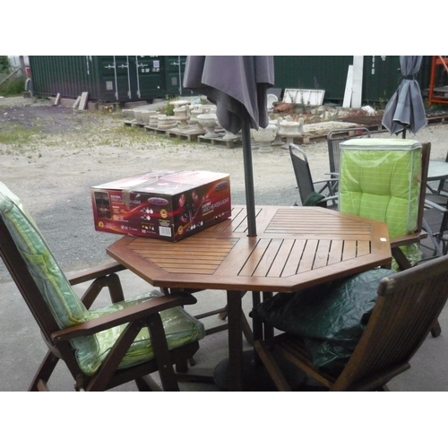 4 - Oak garden table with cover with four folding chairs two with seat covers, parasol and electric pati...