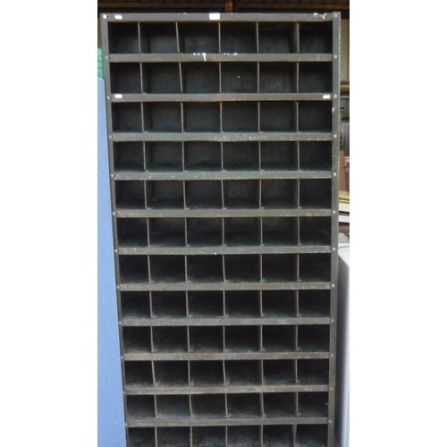 109 - 1950's green painted steel pigeon hole racking system...