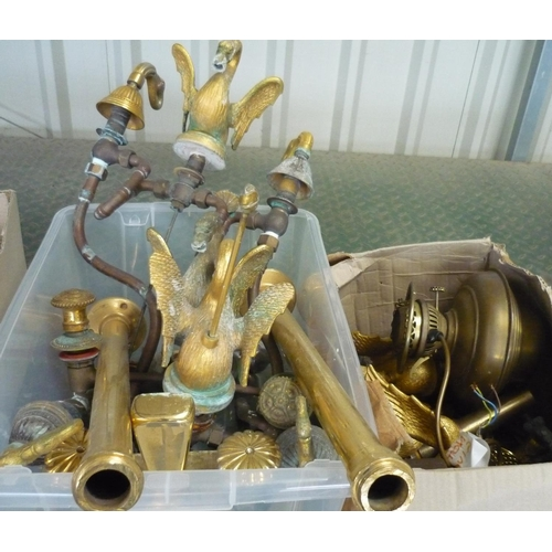 43 - Two boxes containing a large collection of brass taps and fittings in the shape of swans, and ornate...