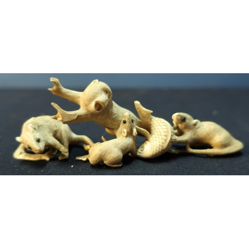 24 - Late 19th C carved Oriental ivory figure of a monkey, rat and fish (height 4.5cm) and another of a r...