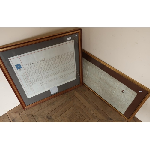 50 - Two framed and mounted 18th C Indentures...