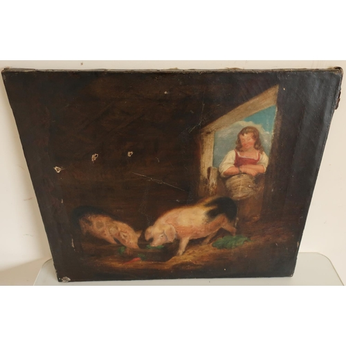 51 - Unframed 19th C oil on canvas of pigs in pig sty with farm girl (AF), the reverse with hand inked la...