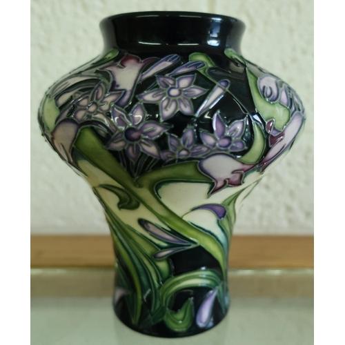 5 - Moorcroft floral patterned vase with monogram initials P.D 2003 (13.5cm high)...