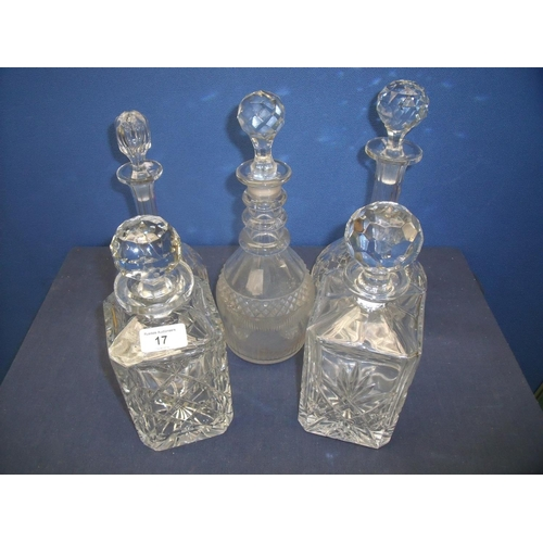 15 - 19th C cut glass decanter with later stopper, two square decanters and two other bulbous decanters (...