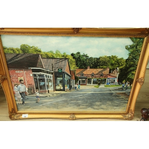141 - Gilt frame oil on board painting of Burley village, Hampshire by H M Norman (85cm x 60cm)...