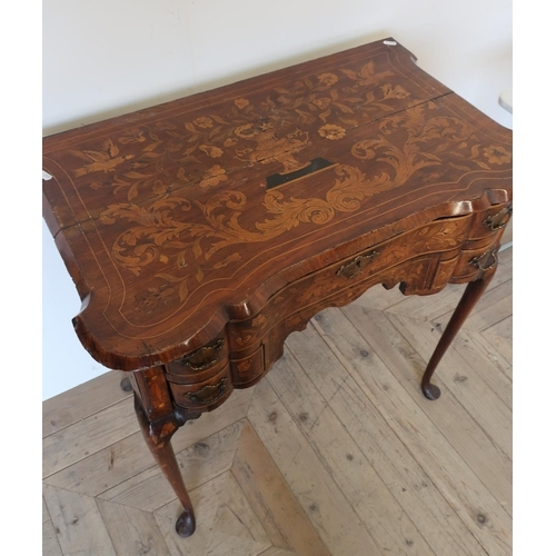 144 - 19th C mahogany marquetry inlaid side table with long drawer above two short drawers (78cm x 49cm x ...