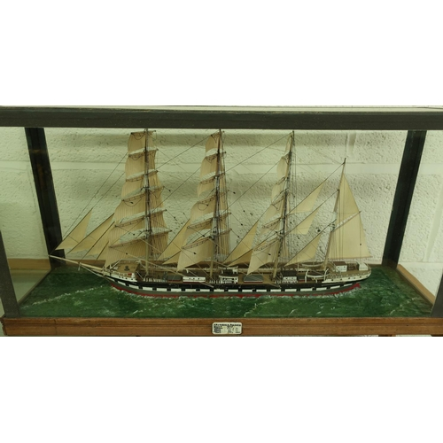 1 - Glazed cased scale model of triple masted ship Archibald Russell, built 1905 with ivory plaque depic...