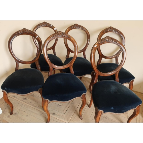 111 - Set of six Victorian walnut framed dining chairs with upholstered seats...