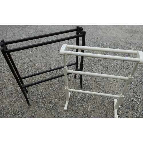 114 - Late Victorian painted towel rail and another ebonised Edwardian style towel rail (2)...