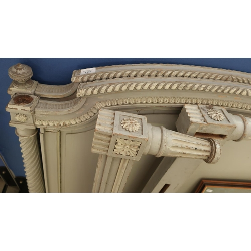 121 - Pair of 19th C two tone painted single bedsteads with carved detail on barley twist column supports...