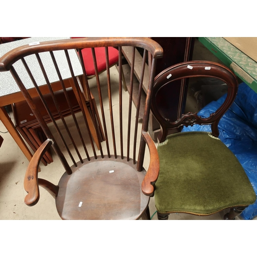 129 - Early 20th C stick back armchair with H shaped under stretcher and a Victorian mahogany balloon back...