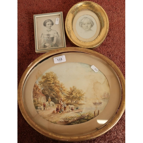 133 - Gilt framed oval 19th C watercolour of landscape scene depicting figures on waters edge, a framed po...