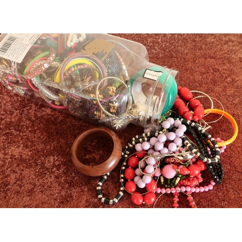 137 - Tub containing a large quantity of costume jewellery...