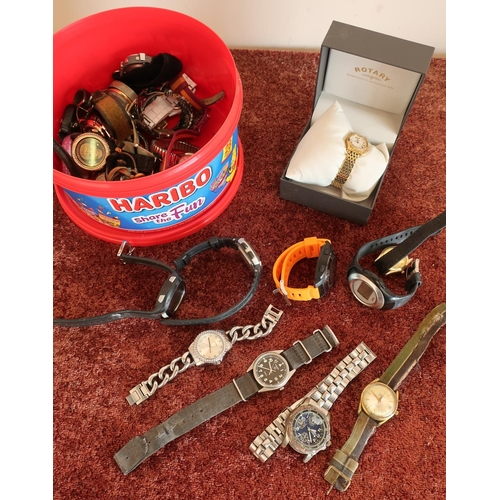 138 - Quantity of various ladies and gents wristwatches in one box, including ladies Rotary boxed watch...