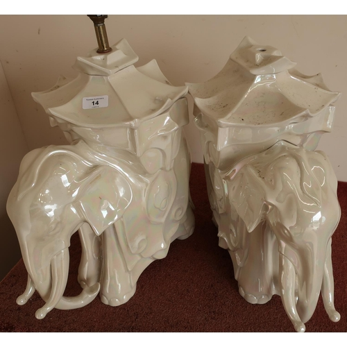 14 - Pair of ceramic table lamps in the form of elephants (approx. 55cm high)...