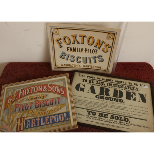 18 - Framed and mounted Foxton & Sons Family Pilot Biscuit Hartlepool advertising poster, another similar...