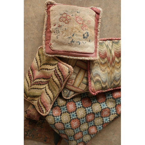 209 - Selection of 19th C and later textiles in one box, including small needlework and woolwork cushions,...