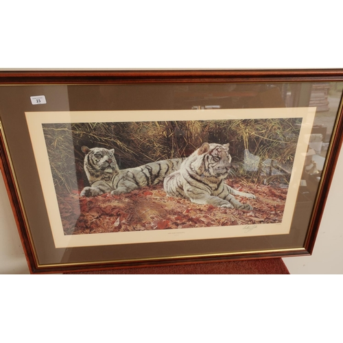 23 - Framed and mounted limited edition No 362/1550 print 'White Tigers Ever Watchful' signed by the arti...