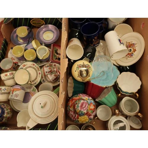 32 - Royal Stuart Harlequin part tea service, various commemorative ware, decorative ceramics and other i...