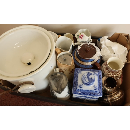 33 - Quantity of various decorative ceramics including large slop pail, Clarkes Patent pyramid night ligh...