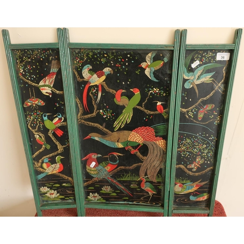 36 - Unusual circa 1920s three sectional firescreen with painted tin plate panels...