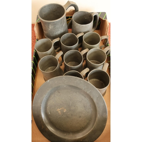 38 - Selection of various assorted pewter tankards and a pewter side plate...