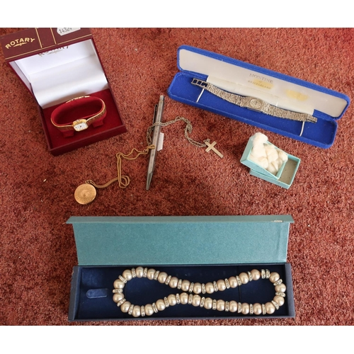 39 - Boxed ladies Rotary wristwatch, Accurist ladies wristwatch, bracelet stamped 925, various costume je...