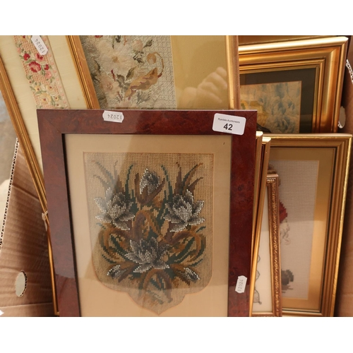 42 - Large selection of 19th C and later framed wool works, bead works, needle works etc...