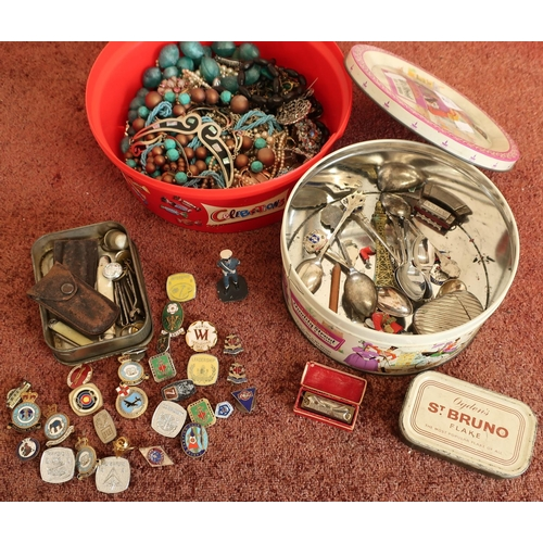 43 - Quantity of various costume jewellery, souvenir spoons, miniature mouth organ, large collection of e...