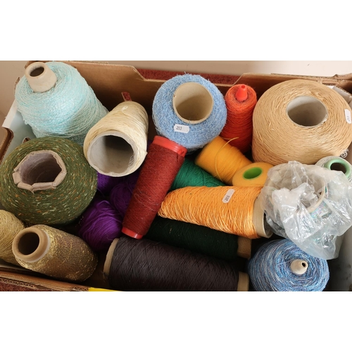 48 - Box containing a large quantity of mainly spool wool...