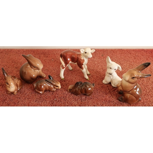 5 - Collection of various Beswick animals including Hereford calf No 1406, mouse No 1678, West Highland ...