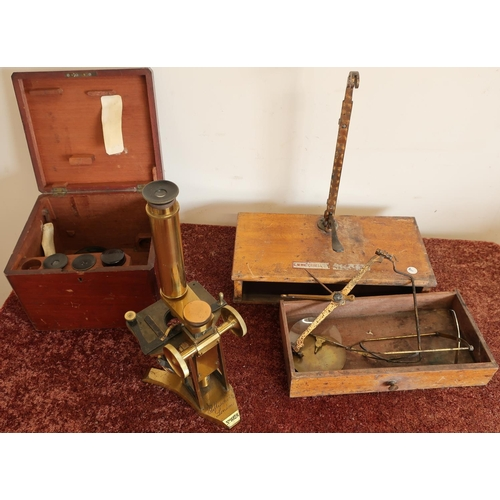 6 - Mahogany cased Pillischer of London No.1028 brass microscope with various accessories and a set of b...