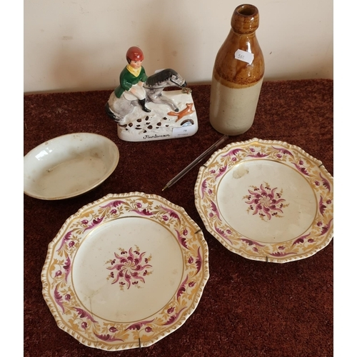 11 - Pair of Bloor Derby plates (one A/F), stoneware dish, Staffordshire style huntsman and a stoneware b...