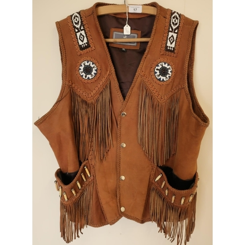 17 - As new JR Fashion leather XL Native Indian style leather waistcoat with bead-work panels and bone em...
