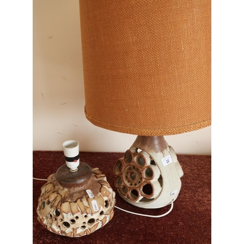 22 - Pair of mid 20th C Studioware ceramic table lamps...