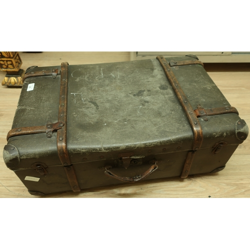 28 - Vintage wooden bound trunk...