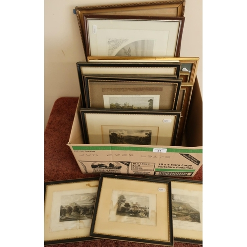 31 - Quantity of 19th C and later coloured engravings, prints etc, including a quantity of Yorkshire rela...