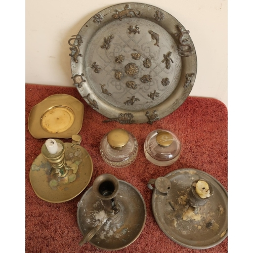 37 - Unusual Eastern style pewter plate with Indian brass mounts, brass inkwells, candlesticks etc...