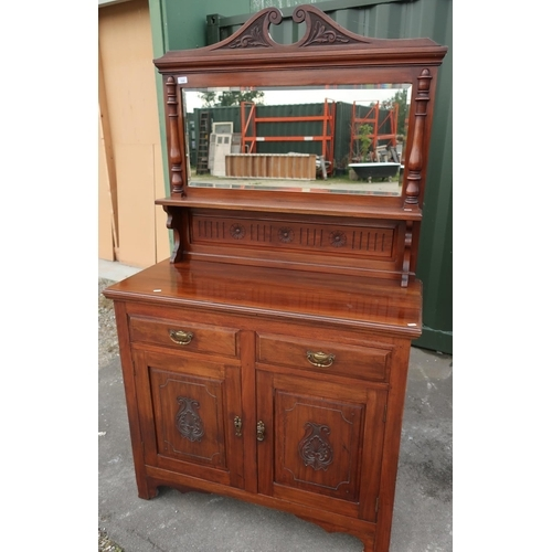 104 - Late Victorian mahogany dresser with raised bevelled edged mirror back with shelf above two drawers ...