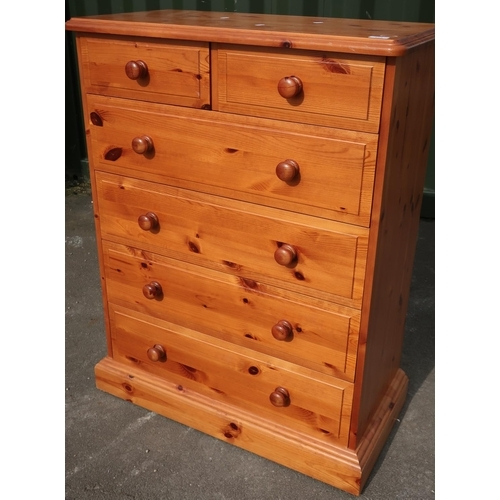 105 - Modern pine chest of two short above four long drawers (86cm x 44cm x 114cm)...