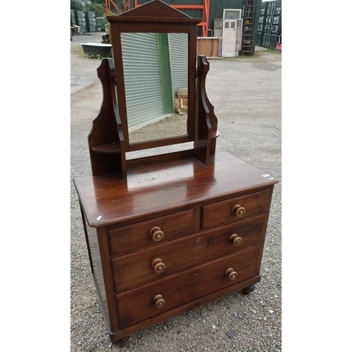 108 - Late Victorian stained beech dressing chest with raised mirror back above two short and two long dra...