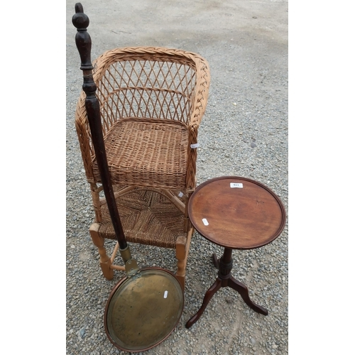 119 - Mahogany circular top wine table, a bed warming pan with turned wood handle, stringtop stool and a c...
