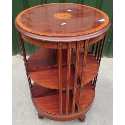 126 - Edwardian mahogany inlaid circular revolving bookcase (height 84cm diameter 56cm)...