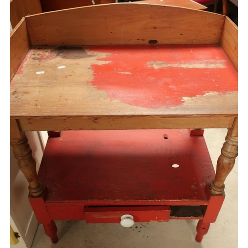 130 - Pine two tier wash stand with raised back and drawer to the base on turned supports (width 78cm)...