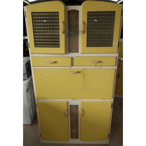 165 - Circa 1950/60s utility kitchen furniture comprising of multi functional cabinet with two upper glaze...