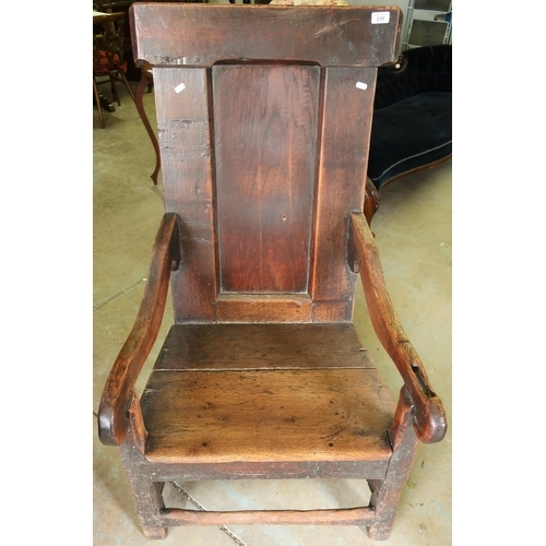 210 - 18th C Wainscot style chair with raised panel back and planked seat...