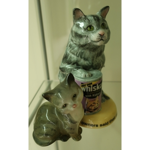 3 - Royal Doulton Whiskers Cat Silver Tabby Limited Edition No 417/750 MCL15 and a Beswick cat (2)...