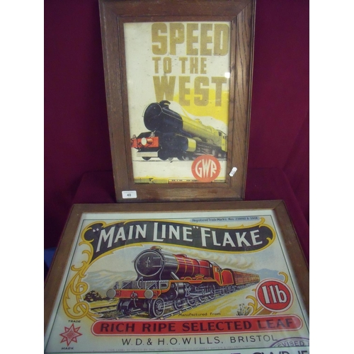 38 - Framed and mounted Main Line Flake Bristol Harbour Line reproduction advertising poster and a simila...