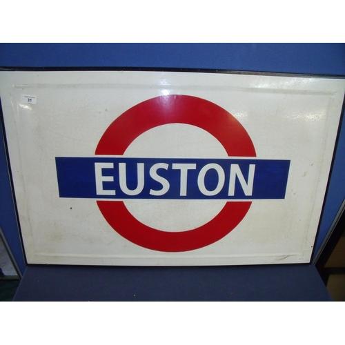 43 - Rectangular enamel London Underground Euston Station sign (84cm x 54cm)...