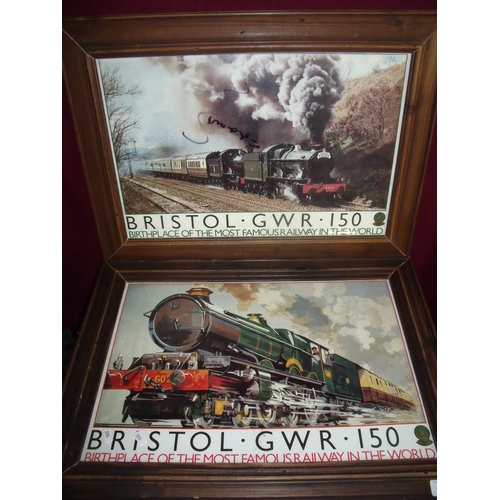 44 - Framed and mounted Bristol GWR commemorative poster and another similar (2)...